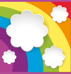 rainbow background with white flower templates vector image