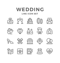 set line icons of wedding vector image