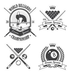 Set of billiards emblems labels and designed eleme vector image