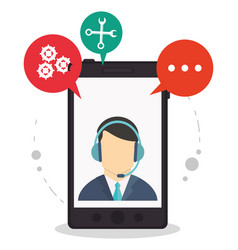 smartphone call center assistance talking vector image