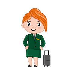 smiling girl in stewardess uniform vector image vector image