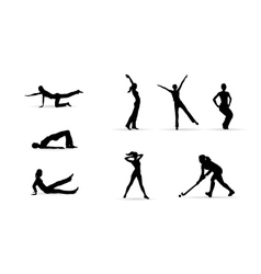 Sport fitness woman silhouettes vector image vector image