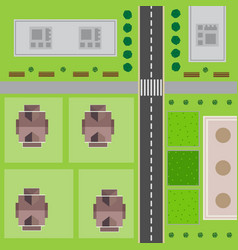 top view of the city with the road vector image