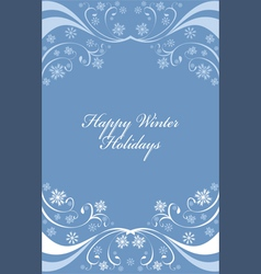 Winter background with snowflakes on blue vector image vector image