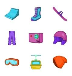Winter sport icons set cartoon style vector