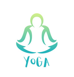 yoga class logo element over white man in lotus vector image