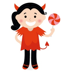 Cute little devil girl in red costume vector