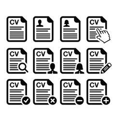 CV - Curriculum vitae resume icons set vector image