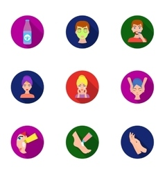 Skin care set icons in flat style Big collection vector image