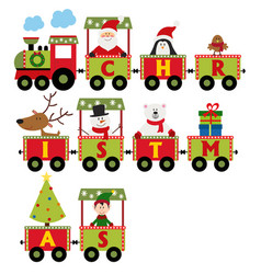 Christmas train with characters vector