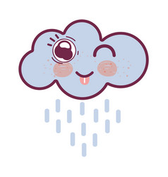 Kawaii raining cloud funny with tongue outside vector