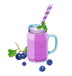 Blueberry smoothie in glass jar with handle two vector