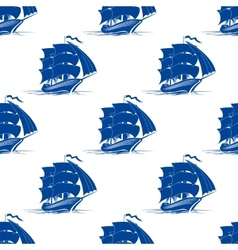 Seamless pattern of sailing ship vector