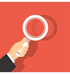 Of a magnifying glass in hand vector