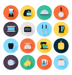 Kitchen utensils and cookware flat icons set vector