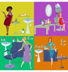 Beauty salon spa customers and workers flat people vector
