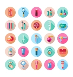 Set of flat design cosmetics make up icons and vector