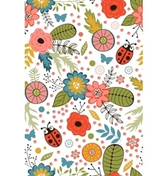 Colorful blooming flowers seamless pattern vector