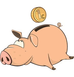 Cute piggy bank cartoon vector