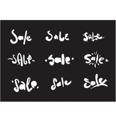 Sale inscription 9 set hand drawn text useful vector