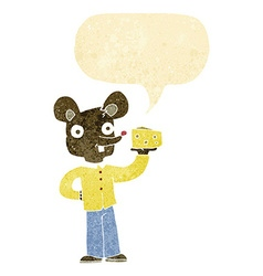 Cartoon mouse holding cheese with speech bubble vector