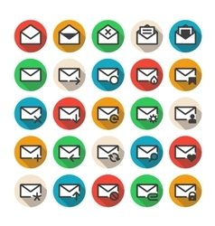 Multicolored mail icons vector