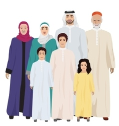 Big and happy arab family vector