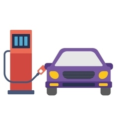 Car at gas station being filled with fuel vector
