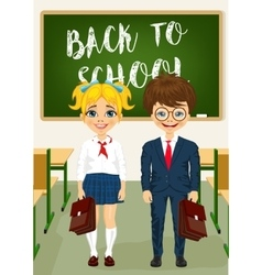 little boy and girl standing in classroom vector image