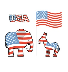 Elephant and donkey symbols of democrats and vector