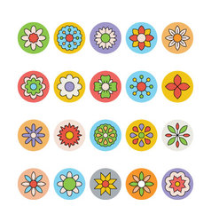 Flowers and floral colored icons 2 vector