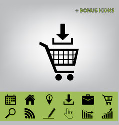 Add to shopping cart sign black icon at vector