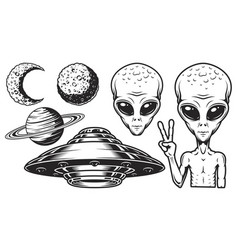 Aliens and ufo set vector