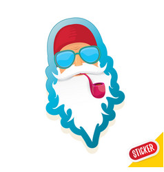 Bad rock n roll dj santa claus sticker or vector