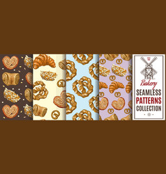 Bakery color patterns set vector