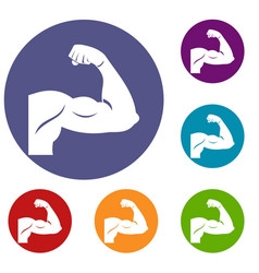 Biceps icons set vector