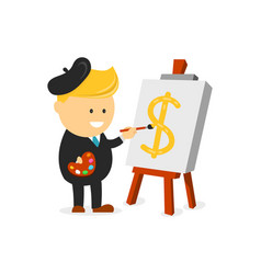 businessman artist painter draws a dollar vector image vector image