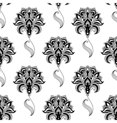 Calligraphic vintage floral seamless pattern vector