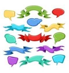 Cartoon ribbons and comic speech bubbles vector