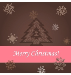 Christmas tree on the brown background vector image