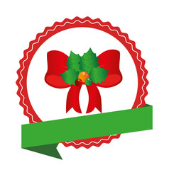 circular emblem with christmas red bow with holly vector image vector image