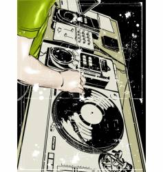 Dj and vinyl disc vector