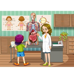 Doctor showing organs to kid vector