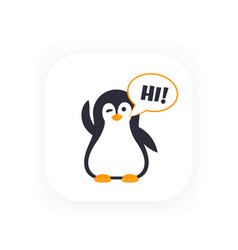 Emoji with greeting pinguin vector