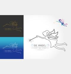 Fairy flying logo vector
