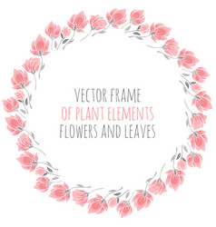 Frame wreath pink sakura blossoms vector