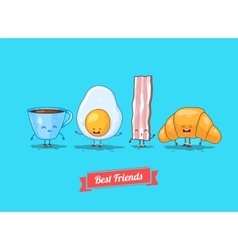 funny cartoon Funny cup egg bacon vector image