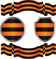 Georgievsky ribbon and shields vector