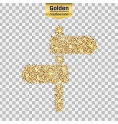 Gold glitter icon of plaque isolated on vector