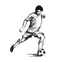 hand sketch soccer player vector image